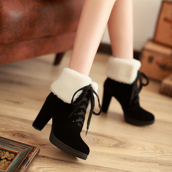 Winter Women Ankle Boots High Heels Platform Snow Boots Lace Up Lamb Wool Shoes Woman 2016 3387