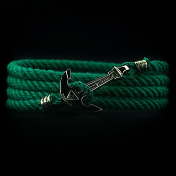 Anchor Bracelet. NICKEL PLATED. Green Bracelet. Nautical Bracelet. Marine Rope Bracelet. Mens Bracelet. Women Bracelet. Men Rope Bracelet