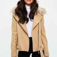 Missguided - Camel Wool Fur Collar Biker Jacket