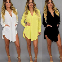 Loose Long Long Sleeve Handkerchief Casual Party Playsuit Clubwear Bodycon Boho Dress _ 8817