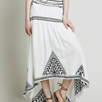 White Embroidery Asymmetric Maxi Skirt