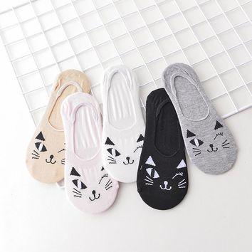 5 Pairs Package Low Cut Women Socks Funny Crazy Cool Novelty Cute Fun Funky Colorful - Cat, Dog, Pig, Bear Face