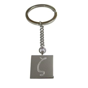 Silver Toned Etched Greek Letter Zeta Pendant Keychain