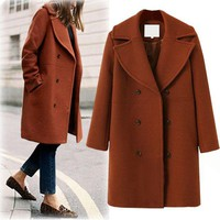 DCKL9 Plus Size Women's Fashion Wool Coat Windbreaker [191193579546]