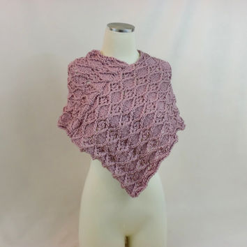 Pink Poncho Knit Cape Capelet Wrap Lace Mantle Shawl Cloak Talma caplet