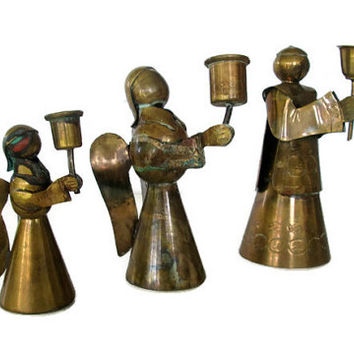 Vintage Brass Angels Alter Boy Mexican Hand Hammered Artisan Christmas Decor Candle Holders