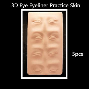 5 PCS Tattoo Practice Skin 3D Cosmetic Permanent Makeup Eye Eyeliner Skin Silicone For Tattoo Manual Microblading Pen Needles
