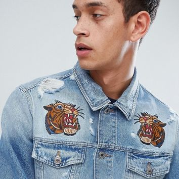 Jack & Jones Intelligence Denim Jacket With Embroidery Details at asos.com
