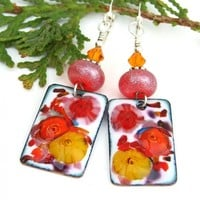 Red Orange Yellow Flower Earrings, Enamel Lampwork Handmade Jewelry