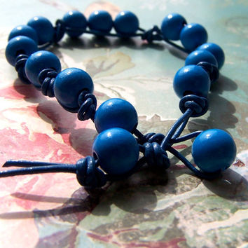 Blue Leather Bracelet, Cute Beaded Bracelet, Knotted Blue Leather, Boho, Summer