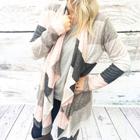 SKIP A BEAT CARDI IN GREY MULTI