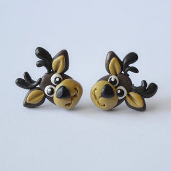reindeer earrings,Animal jewelry,cute Christmas reindeer stud,funny Xmas elk post,tiny earstud,unusual piercing,unique earstud,cute Animals
