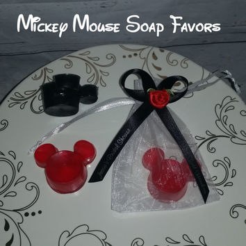 Minnie Mouse Party Favor - Mickey Mouse Inspired Soap Favor Walt Disney Soaps for Bridal, Baby Shower, Birthday Party Favor - Pack of 25