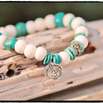Sterling Silver Ohm with Turquoise and Carved Bone Stretch Bracelet, Bohemian Yoga Surf Inspired, Spring and Summer Stacking Bracelet