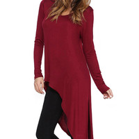 Long Sleeve Asymmetric Slit Tunic Top