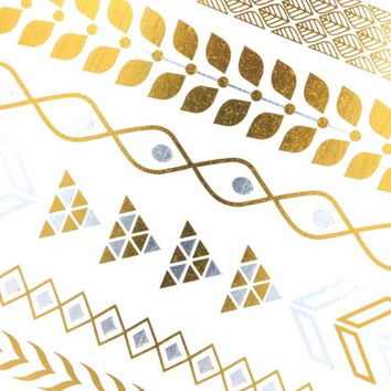 Gold Tattoos, Gold Temporary Tattoo, Gold Armband Tattoo, Gold Tribal Tattoos, Tribal Temporary Tattoo Bracelets, Silver and Gold Bracelets