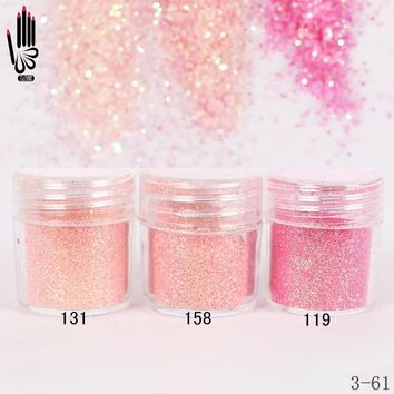 1 Jar/Box 10ml Nail Fashion 3 Light Pink Red Nail Glitter Fine Powder For Nail Art Decoration Optional 300 Colors Factory 3-61