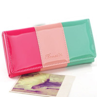 Candy Color Block Faux Leather Long Wallet