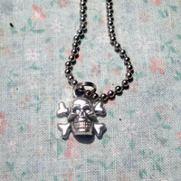 Small Skull and Cross Bones Charm Necklace for Women or Men