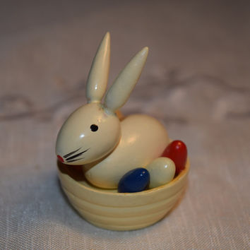 Wood Miniature Easter Rabbit in Nest Vintage Collectible Wooden Easter Bunny Eggs in Basket Figurine Wee Bunny Made in Shanghai China