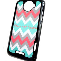 Accessory Case HTC One X Chevron Mint Gray Coral Embrace the Journey Hard Case in Black Case