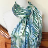 "Long hand dyed Devore satin silk scarf in green and blue, 14""x58"" silk scarf, ready to ship #420"
