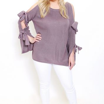 Cold Shoulder Tie Sleeve Sweater