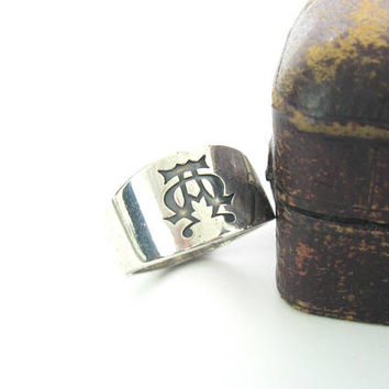 James Avery Alpha & Omega Mens Ring. Sterling Silver. Greek Letters, Religious. Engraved SMU Southern Methodist. Vintage Wedding Jewelry