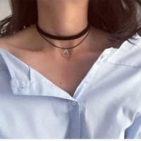 Multilayer Collar Choker Necklace with Triangle Geometric Pendant
