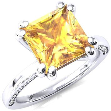 Ain Princess Yellow Sapphire 4 Double Prong Single Rail Diamond Accent Engagement Ring