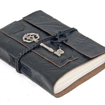 Embossed Black Leather Wrap Journal with Lined Paper and Key Bookmark  Ready To Ship