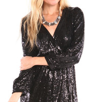 LONG SLEEVE SEQUIN WRAP DRESS - BLACK