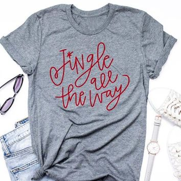 Summer Gray Clothes Christmas Shirt Jingle all the way T-Shirt Casual Graphic Grunge O-Neck Tops Stylish Holiday Outfits Tops