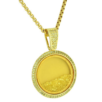 Canary Floating Stones Pendant Glass Lab Diamonds Free Box Necklace Stainless Steel