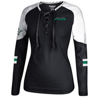 Dallas Stars Reebok Women's Lace-Up Long Sleeve Hockey Top – Black/White