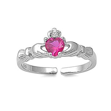 Sterling Silver Stylish Claddagh Toe Ring with Red Ruby Simulated Diamond Heart, Face Height 7 MM