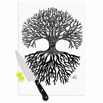 "Adriana De Leon ""The Tree of Life"" Black White Cutting Board"