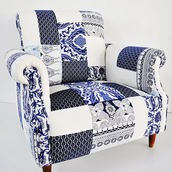 blue & white porcelain patchwork armchair by namedesignstudio
