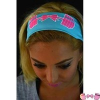 FFAB Cotton Candy Bow and Barbell Headband