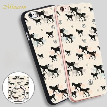 Minason Horses Mobile Phone Shell Soft TPU Silicone Case Cover for iPhone X 8 5 SE 5S 6 6S 7 Plus