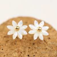 Gold Floral Shape Stud Earrings