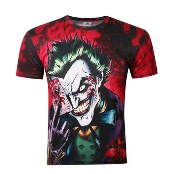 BIANYILONG Skull 3d T shirt Funny Comics Character Joker With Poker 3d T-shirt Men Summer Style Outfit Tees Top Full Printing
