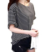 2017 tshirts femme Women's Fashion T-shirt All-match Batwing Sleeve Casual Loose Striped Black/White Vintage BF Style Tops Tee