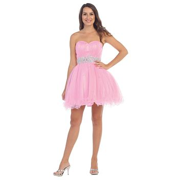 Ruched Bodice Studded Waist Pink Short Poofy Homecoming Dress
