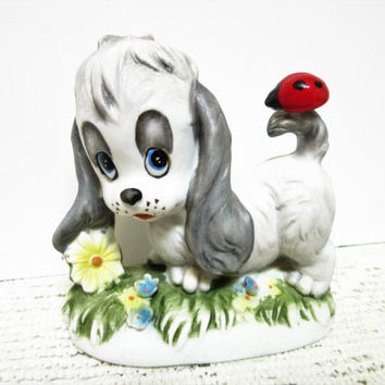 Homco Puppy Dog Figurine with Ladybug 1970s Vintage