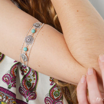 Armlet  Bracelet Arm Chain Cuff Bracelet Body Jewery Piece Hipster Bronze Silver Chain Turquoise Charm  Bohemian Drape CatarinaAB