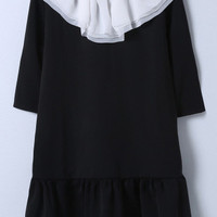 Black Contrast Ruffle Collar Chiffon Dress