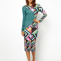 House of Holland Midi Dress in Jigsaw Print