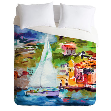 Ginette Fine Art Sailing Past Vernazza Italy Duvet Cover