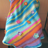 ON SALE - 10% OFF Crochet Baby Blanket...Striped Vibrant Colors Throw with flowers...